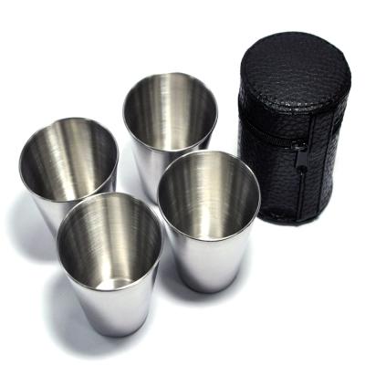 WISH攜帶式不鏽鋼環保杯不鏽鋼杯4入組-附收納袋-快速到貨