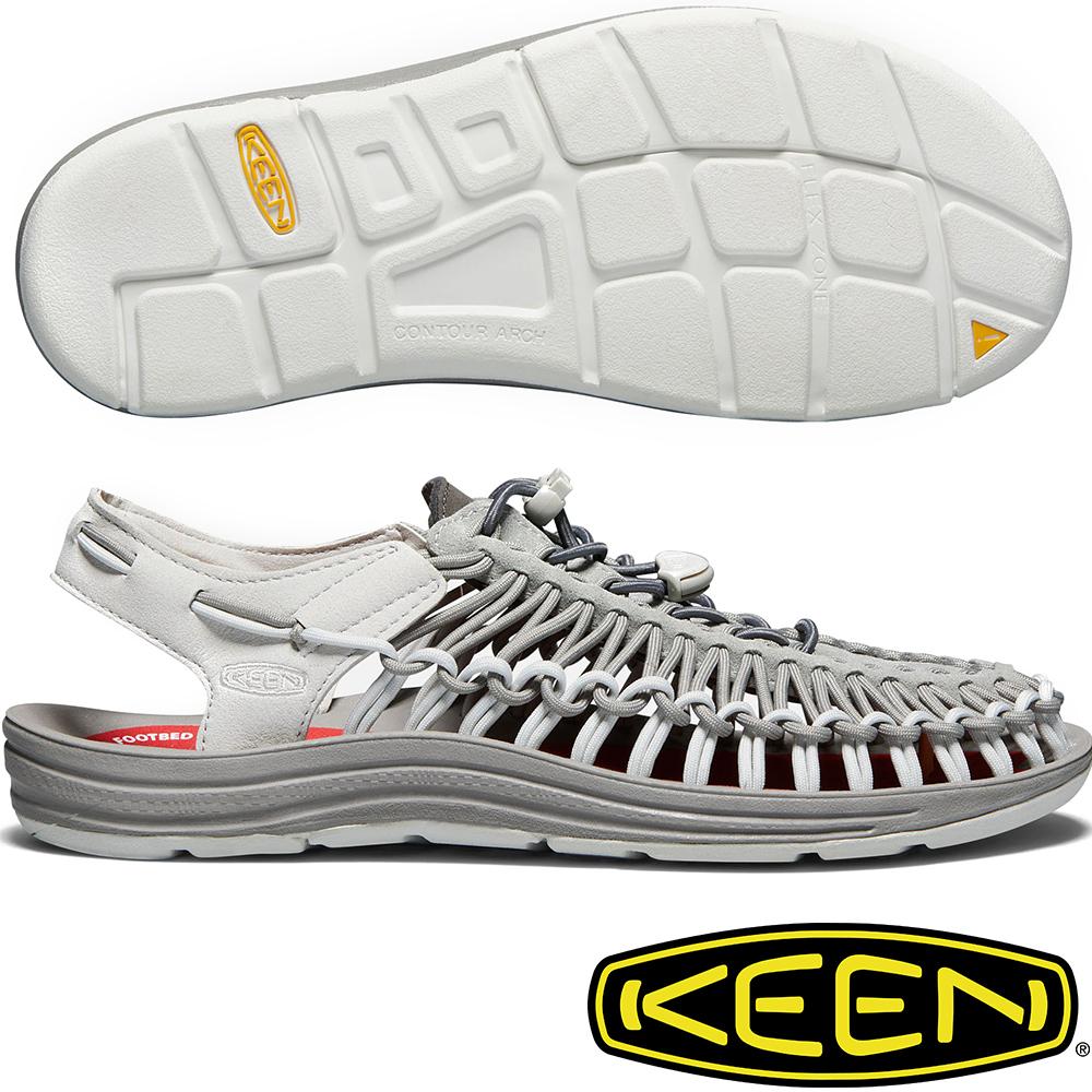 KEEN 1018681灰色 Uneek男專業戶外護趾編織涼鞋