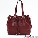J&M 真皮亞娜經典束口水桶包 時髦深紅