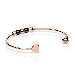 BERING丹麥精品 愛心雙色圓珠 可調整玫瑰金手環