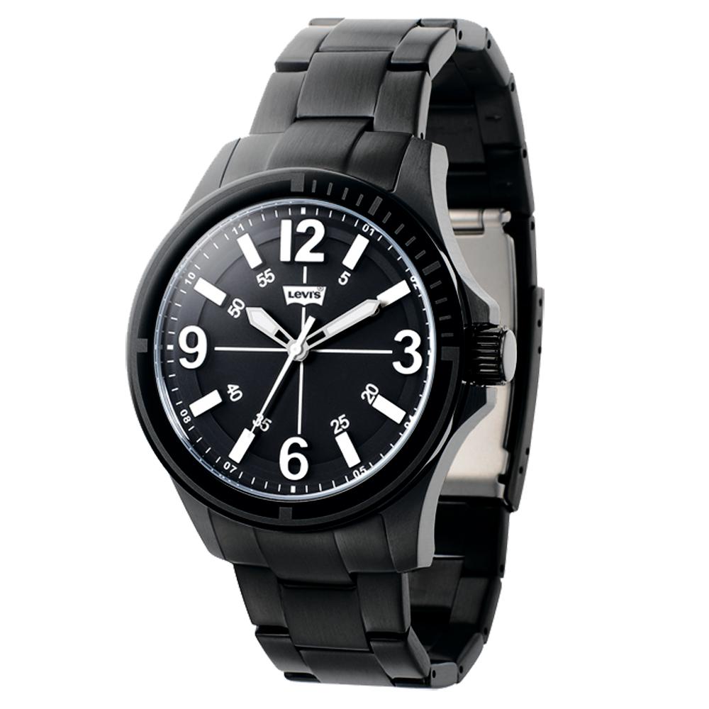 Levi s 時光冒險手錶-黑鋼帶/43mm