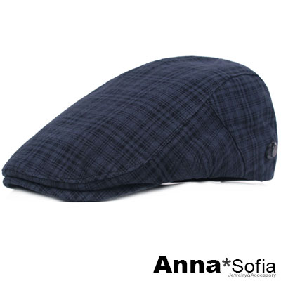 AnnaSofia 經典低調密格 棉質鴨舌帽小偷帽(深藍系)