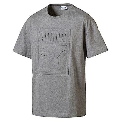 PUMA-男性流行系列浮雕Logo短袖T恤-中麻灰-亞規