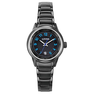 LOVME 摩登簡約時尚腕錶-IP黑x藍釘/29mm