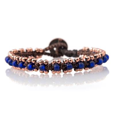 Wakami Woven Beaded串珠蠟繩手鍊-深藍色
