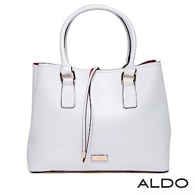 ALDO 磁吸釦束帶手提肩揹兩用托特包~氣質白色