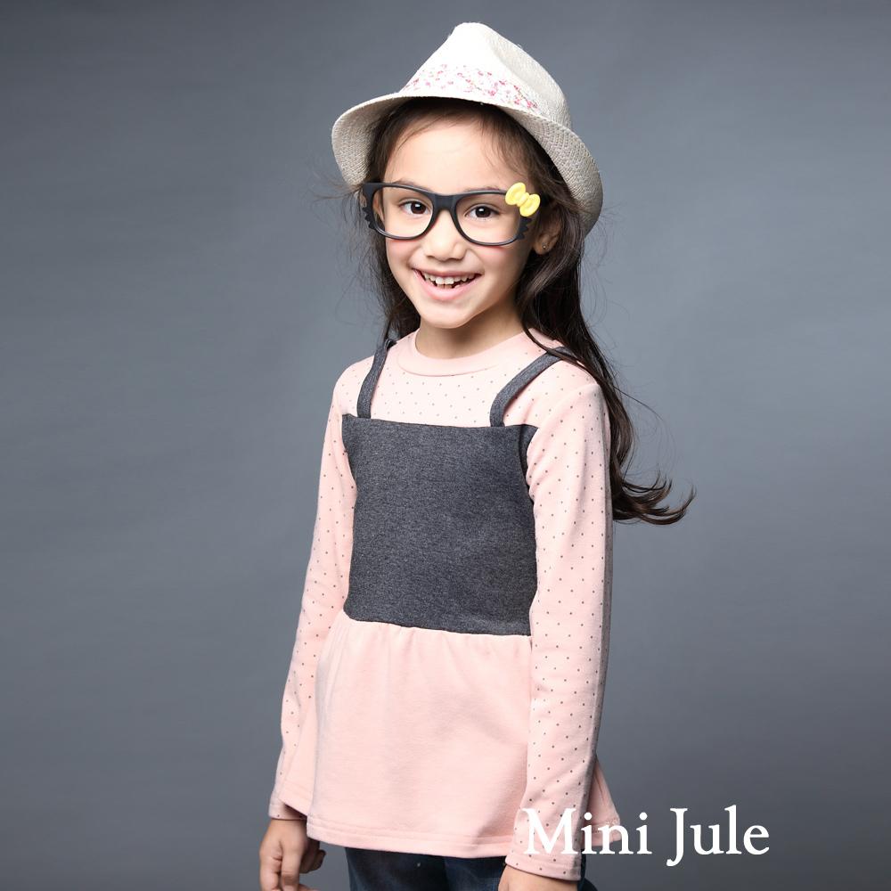 Mini Jule-上衣 假兩件吊帶點點造型長袖棉質上衣(粉)