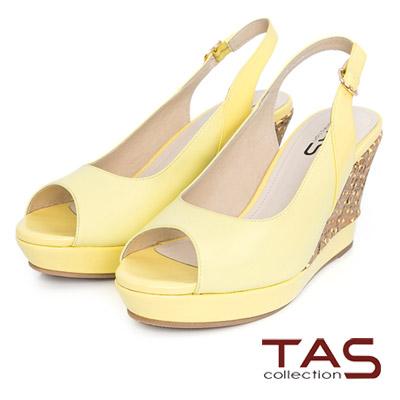 TAS-素面羊皮魚口楔型鞋-檸檬黃