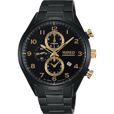 WIRED 耶誕限定套裝計時腕錶(AF8U29X1)-黑金/42mm