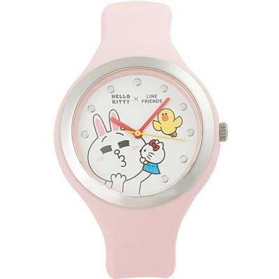 HELLO KITTY 凱蒂貓 x LINE 限量聯名超萌兔兔手錶-粉紅/40mm