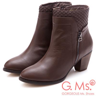 G.Ms. 牛皮拼接魚鱗造型粗跟踝靴-咖啡