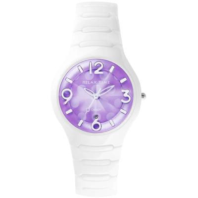 Relax Time Sweet Candy 甜心點點女孩陶瓷腕錶-紫x白/37mm