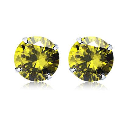ACUBY 925純銀驚彩鋯石單鑽耳環/5mm橄欖綠