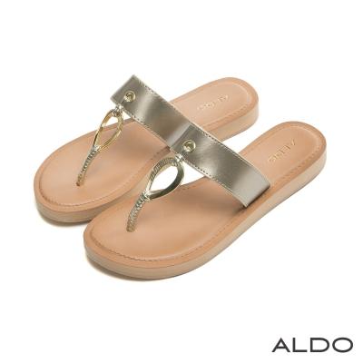 ALDO-原色寬版水滴造型金屬鏤空夾腳涼鞋-名媛金色
