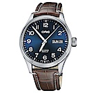 Oris豪利時 Big Crown 日曆星期機械錶-藍x咖啡色錶帶/45mm