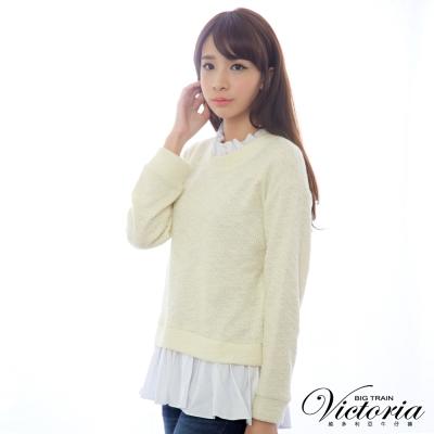 Victoria 假兩件式組合花紗長袖T-女-米紗