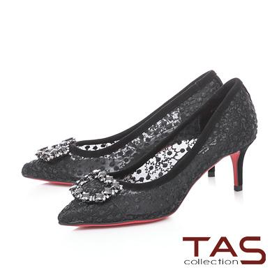 TAS水鑽飾扣碎花網紗尖頭跟鞋-性感黑