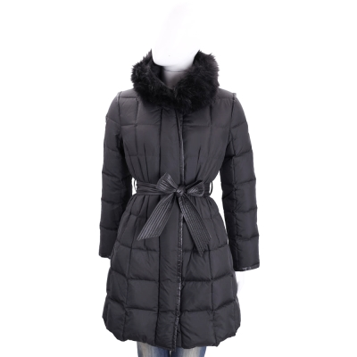 BLUGIRL-FOLIES 黑色方格絎縫長版羽絨外套