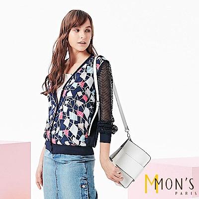 MONS 幾何配布涼感蠶絲外套