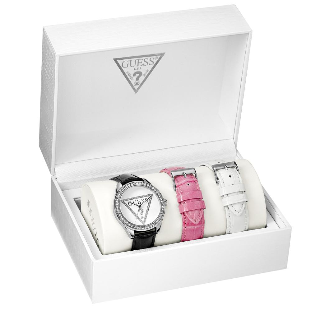 GUESS 魅力時區晶鑽腕錶組-白/37mm