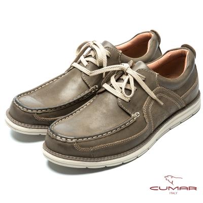 CUMAR 陽光型男 時尚馬克縫線休閒鞋-深咖色