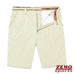 ZENO 彈力暗直紋假腰帶活力短褲‧淡卡其31-42