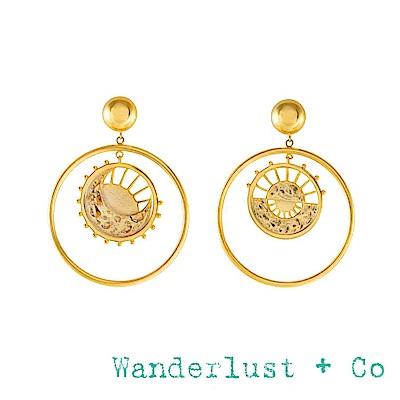 Wanderlust+Co 澳洲品牌 太陽月亮圓形耳環 曙光乍現光芒造型 DAWNING