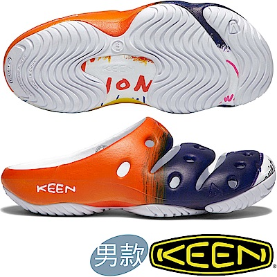 KEEN 1018194橘/深藍白 Yogui Arts 男戶外護趾拖鞋