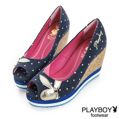PLAYBOY-溫柔時尚-編織布魚口楔型跟鞋-藍