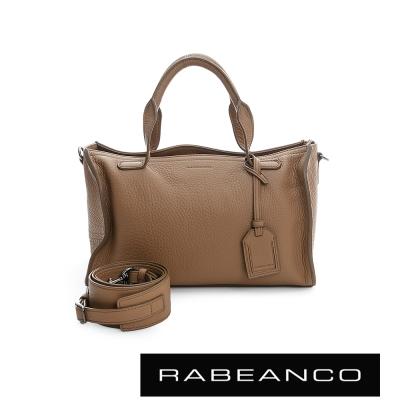 RABEANCO-荔枝紋皮革手提肩背長方肩背包-駝