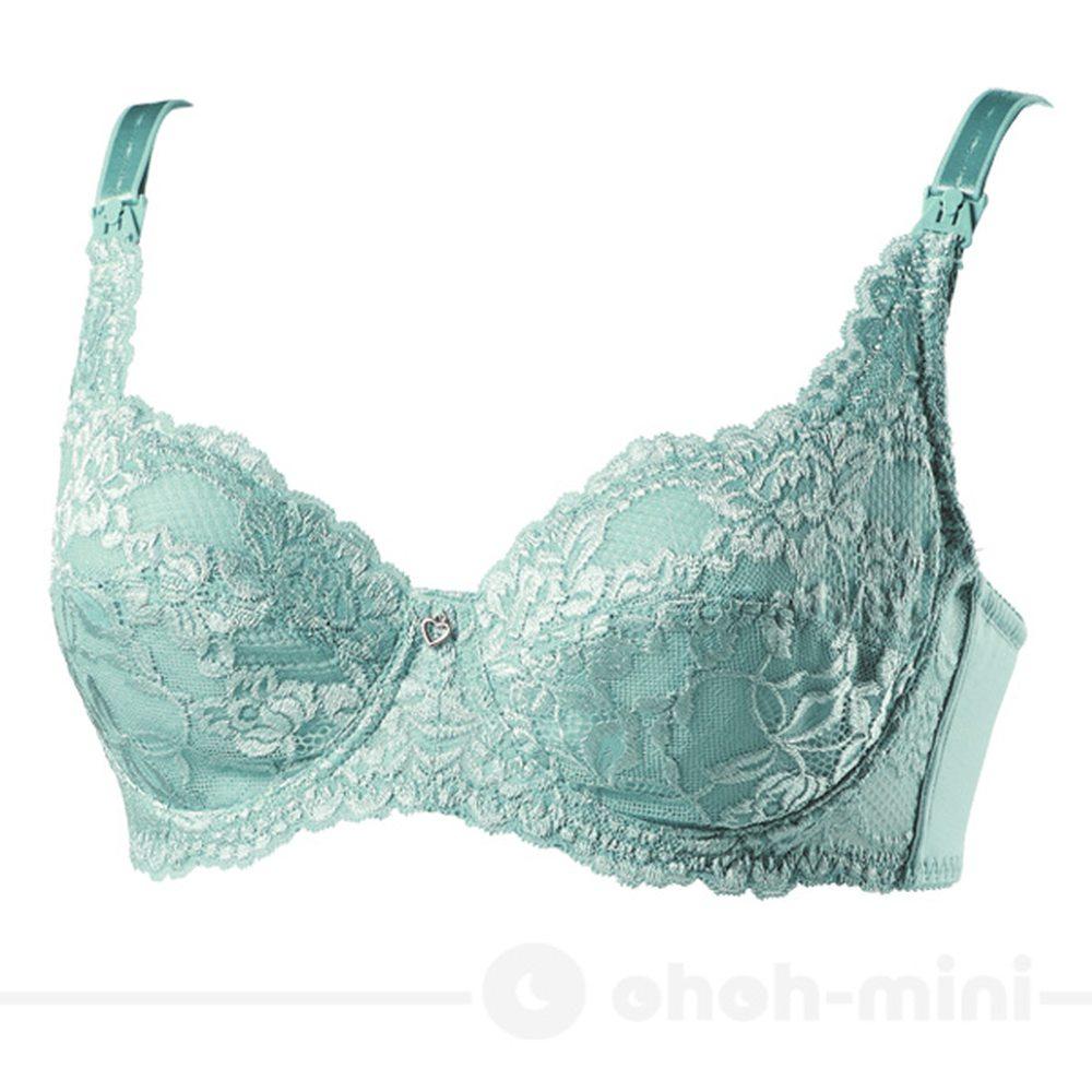 【ohoh-mini】3/4罩蕾絲花語浮雕哺乳內衣/孕婦內衣(淺藍)