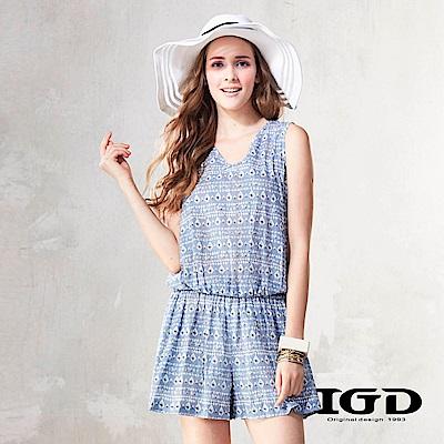 IGD英格麗 幾何印花拼接蕾絲連身褲-藍色