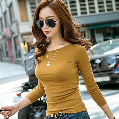 正韓-船型領口彈力合身棉質T恤-共六色-N-C21