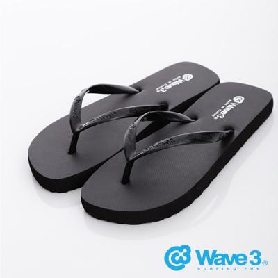 WAVE3【女】台灣製LOGO耳帶人字夾腳拖~黑