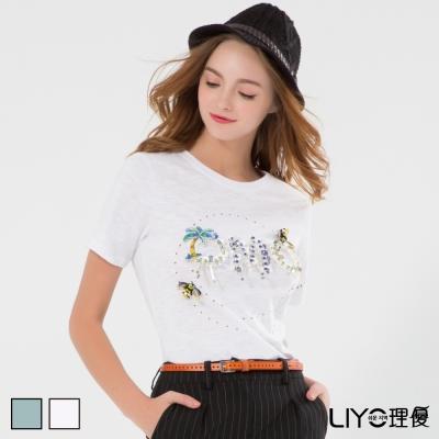LIYO理優精緻立體字母上衣S-XXL-動態show