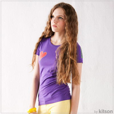 kitson 經典愛心花LOGO合身剪裁短袖T(紫)