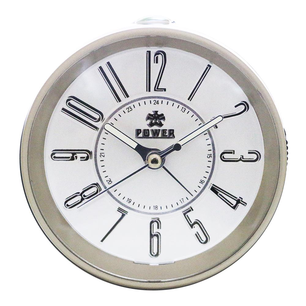 POWER霸王鐘錶-藝術字小鬧鐘-典雅白PA667W-8CM