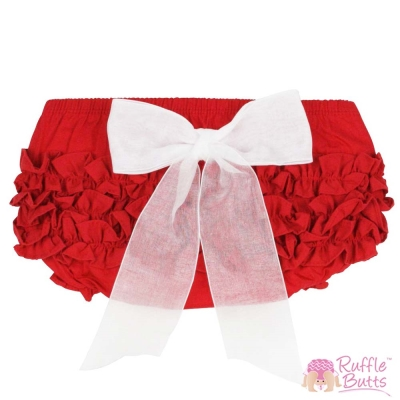 RuffleButts 小女童大蝴蝶結荷葉邊包屁褲-紅色款