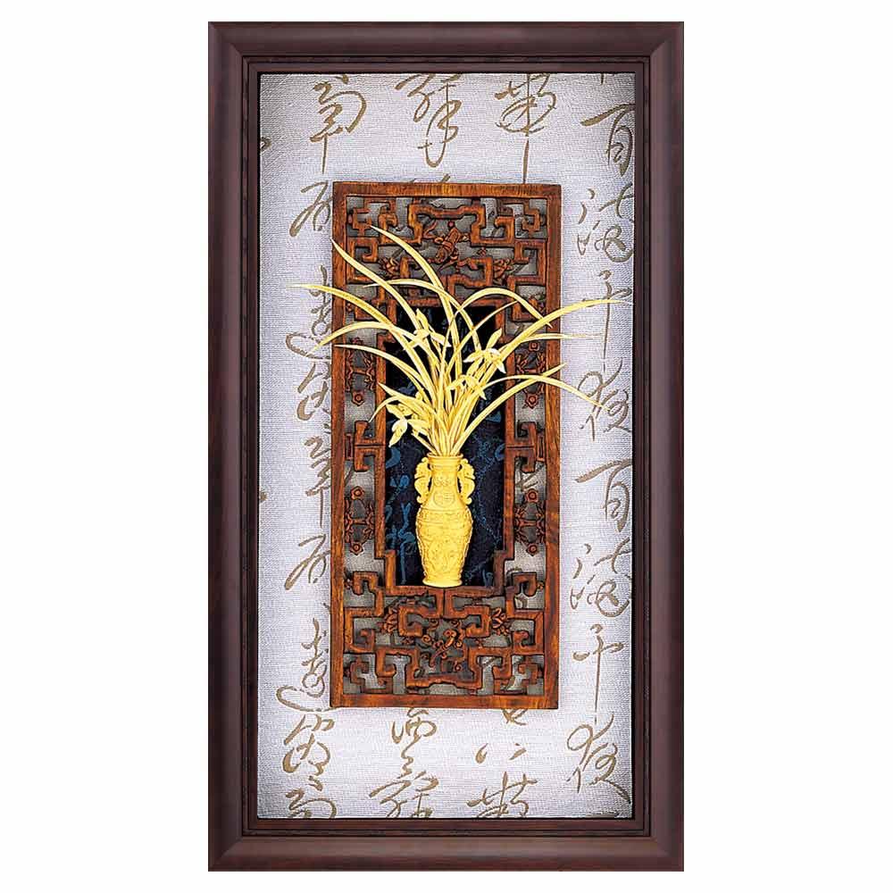 鹿港窯-立體金箔畫-蘭香怡德-蘭(禪風系列22.7x17.6cm)