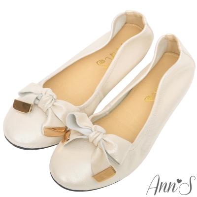 Ann'S輕膚系列-細柔羊麂皮蝴蝶結平底娃娃鞋-光澤杏