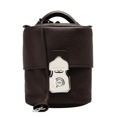 BALENCIAGA 橢圓造形直立式小牛皮銀色壓釦手提包(咖啡)