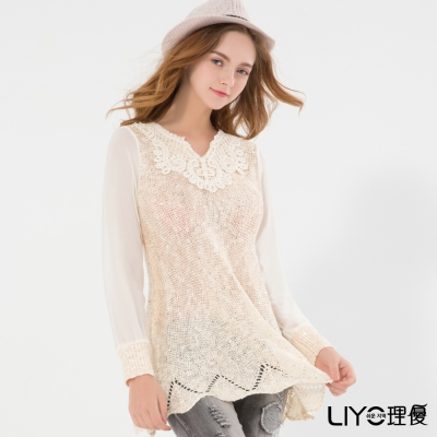 LIYO理優韓風蕾絲針織上衣 F碼