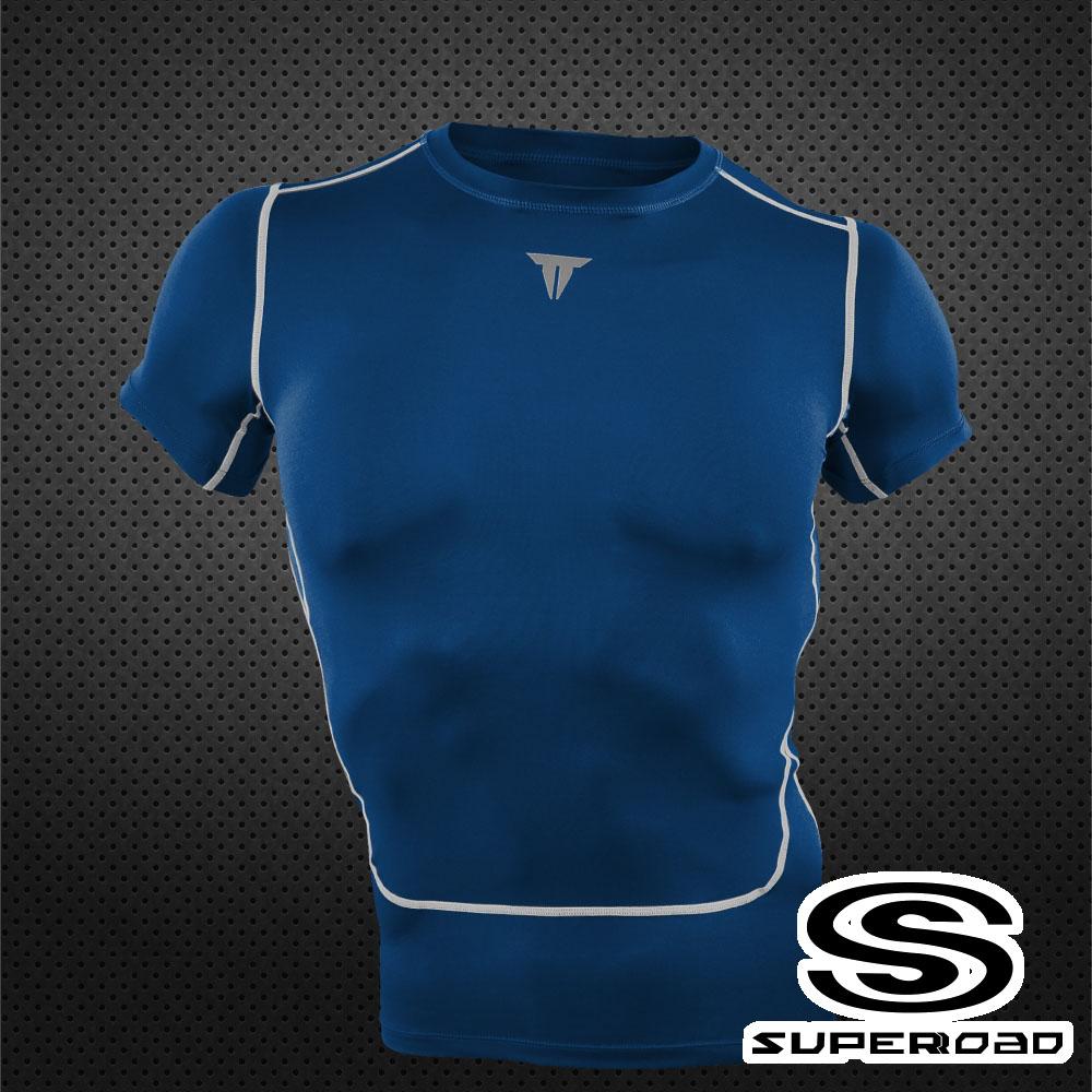 SUPEROAD SPORTS Full-Power 壓縮短袖運動緊身衣 深藍色