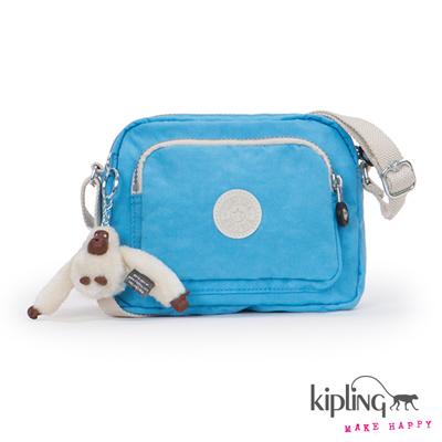 Kipling-斜背包-空氣藍拼色素面