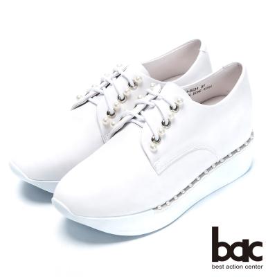 bac時尚樂活 珍珠綁帶內增高休閒鞋-白