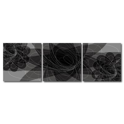 123點點貼- 三聯式無痕創意壁貼 -黑蝶隱耀30*30cm