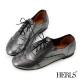 HERLS-全真皮 柔軟亮面牛津鞋-黑色