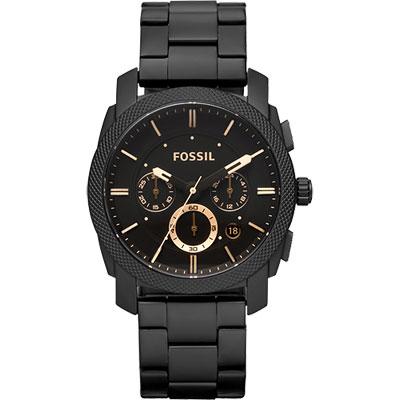 FOSSIL 星際時空三環運動腕錶-金時標/IP黑/45mm