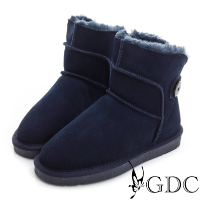 GDC溫暖-保暖側扣鋪毛真皮中筒雪靴-藍色