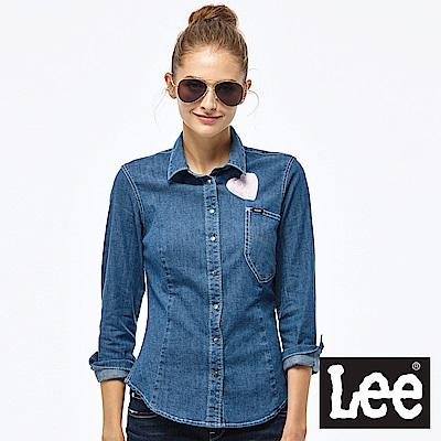 Lee 牛仔長袖襯衫-女款-藍